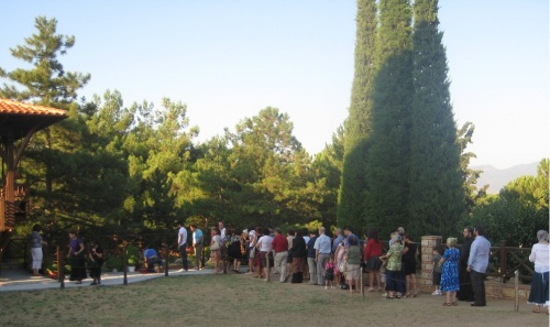 The line to venerate the elder's grave on a regular Sunday evening. (This was taken September 2011).