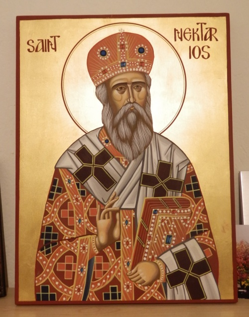 This is my finished icon of St. Nektarios. (Well actually I still need to do the outline around his head, but that's it).