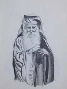 A drawing I did of Elder Iakovos in 2007.