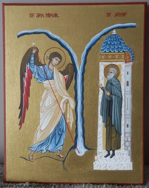 I was commissioned to paint this icon by a dear Romanian friend of ours from New Brunswick. That is why the names Archangel Michael and St. Archippus are written in Romanian.