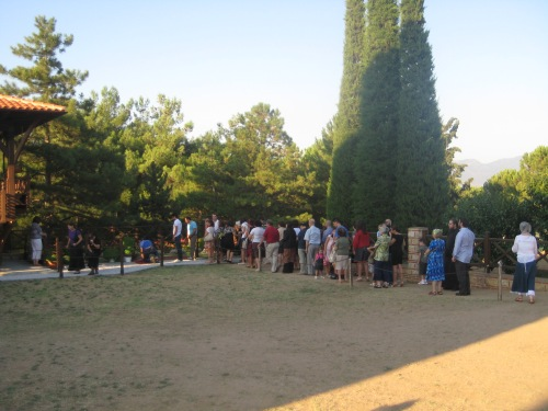 My family, waiting in line to venerate the saint's grave on a typical Sunday evening after Vespers.