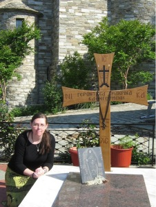 At Gerontissa's grave, May 2012.